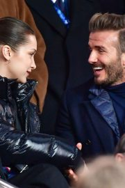 Bella Hadid and David Beckham Stills Paris Saint-Germain vs Real Madrid Game in Paris 2018/03/06