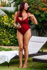 Amy Childs Stills in Swimsuit at a Pool in Cape Verde 2018/03/27 10