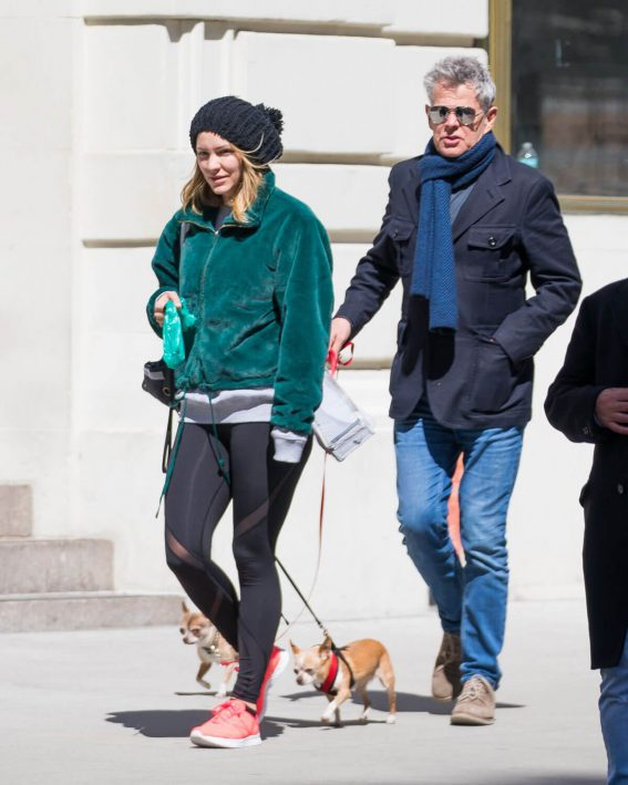 Katharine McPhee and David Foster Stills Out with Their Dogs in New York 2018/04/05 11