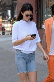 Kendall Jenner Stills in Denim Shorts Out in New York 2018/05/09 6