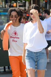 Kendall Jenner Stills in Denim Shorts Out in New York 2018/05/09 12