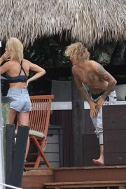 Hailey Baldwin and Justin Bieber on His Mansion Balcony in Miami 2018/06/11 20