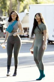 Kim Kardashian and Kylie Jenner in Tights Out in Calabasas 2018/06/11 2