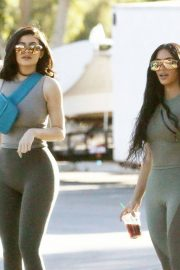 Kim Kardashian and Kylie Jenner in Tights Out in Calabasas 2018/06/11 10