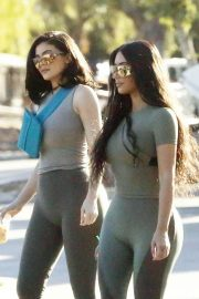 Kim Kardashian and Kylie Jenner in Tights Out in Calabasas 2018/06/11 11