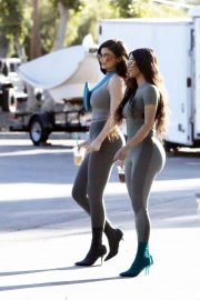 Kim Kardashian and Kylie Jenner in Tights Out in Calabasas 2018/06/11 28