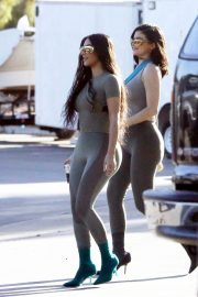 Kim Kardashian and Kylie Jenner in Tights Out in Calabasas 2018/06/11 29