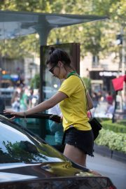 Adriana Lima in Brazil Team Jersey and Shorts Out in Paris 2018/07/02 1