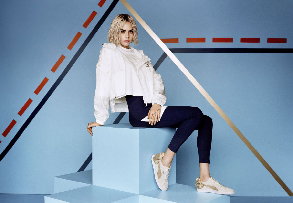 Cara Delevingne for Puma Suede Bow Varsity Trainer Campaign 2018 Photos 1