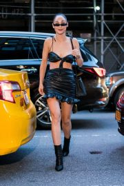 Cara Santana in Back Leather Top and Skirt Out in New York 2018/07/26 5