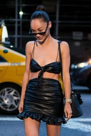 Cara Santana in Back Leather Top and Skirt Out in New York 2018/07/26 10