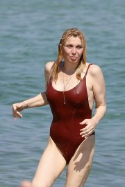 Courtney Love in Swimsuit at Club 55 in St Tropez 2018/07/26 2