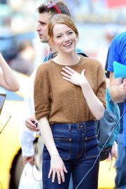 Emma Stone on The Set of Comedy in New York 2018/07/17 11