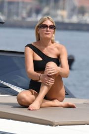 Hofit Golan at Black Asymmetrical Bikini on a Boat in Ischia 2018/07/16 1