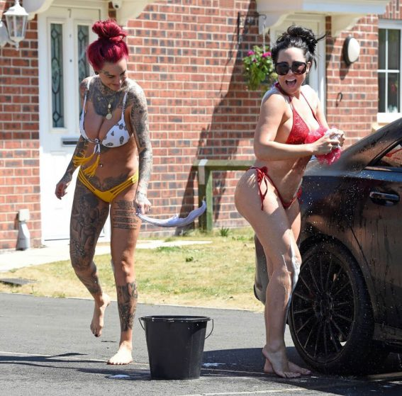Jemma Lucy and Alicia Summers in Bikinis Washing a Car in Manchester 2018/07/05 1