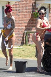 Jemma Lucy and Alicia Summers in Bikinis Washing a Car in Manchester 2018/07/05 14