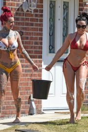 Jemma Lucy and Alicia Summers in Bikinis Washing a Car in Manchester 2018/07/05 17