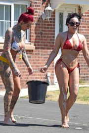 Jemma Lucy and Alicia Summers in Bikinis Washing a Car in Manchester 2018/07/05 18