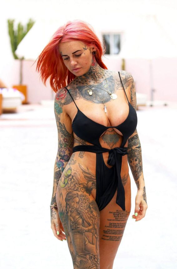 Jemma Lucy in Swimsuit at a Pool in Ibiza 2018/07/23 1