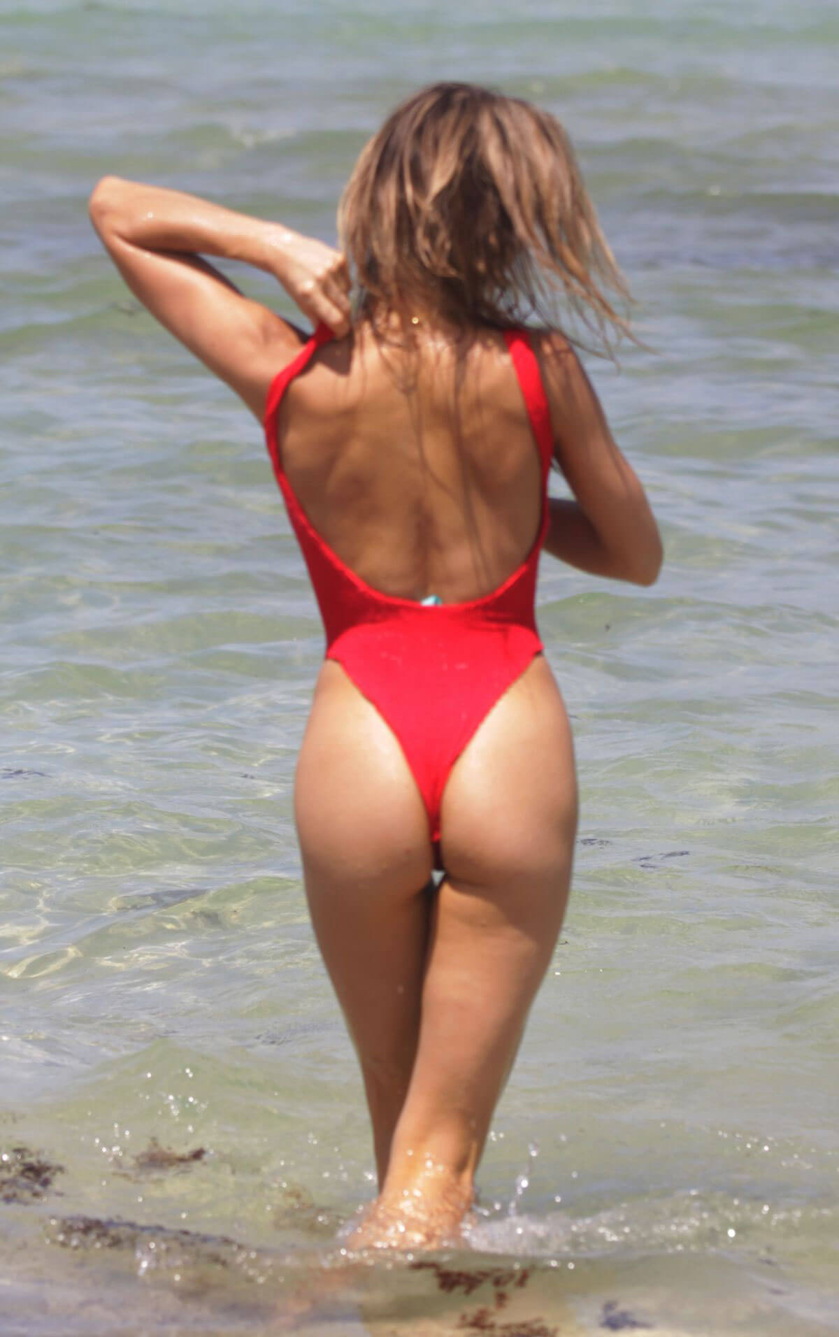 Joy Corrigan in Red Swimwear on the Beach in Miami 2018/07/14 1