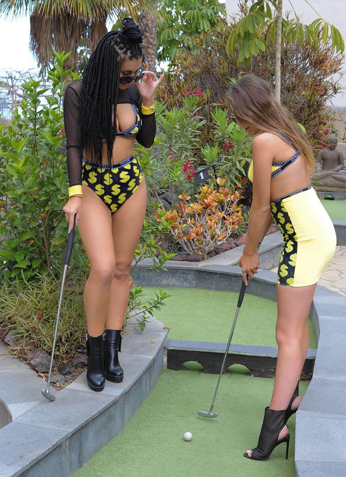 Katie Salmon and India Jennings Playing Mini Golf in Tenerife 2018/05/23 1