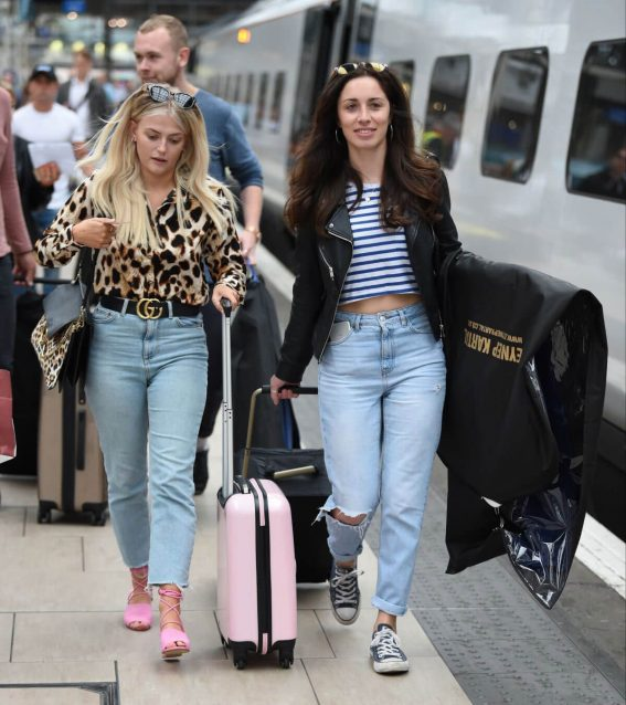 Lucy Fallon and Julia Goulding  at Manchester Piccadilly Train Station 2018/06/02 1