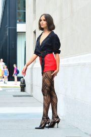 Olivia Culpo in Fishnet Tights and Red Shorts at a Photoshoot in New York 2018/07/24 6