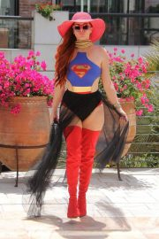 Phoebe Price in Superwoman Costume Out in Beverly Hills 2018/07/16 2