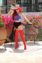 Phoebe Price in Superwoman Costume Out in Beverly Hills 2018/07/16 11