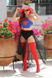 Phoebe Price in Superwoman Costume Out in Beverly Hills 2018/07/16 13