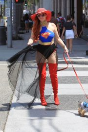 Phoebe Price in Superwoman Costume Out in Beverly Hills 2018/07/16 15