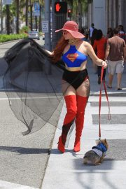 Phoebe Price in Superwoman Costume Out in Beverly Hills 2018/07/16 17