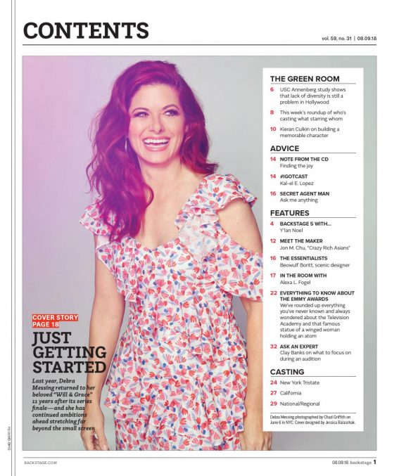 Debra Messing in Backstage Magazine, August 2018 1