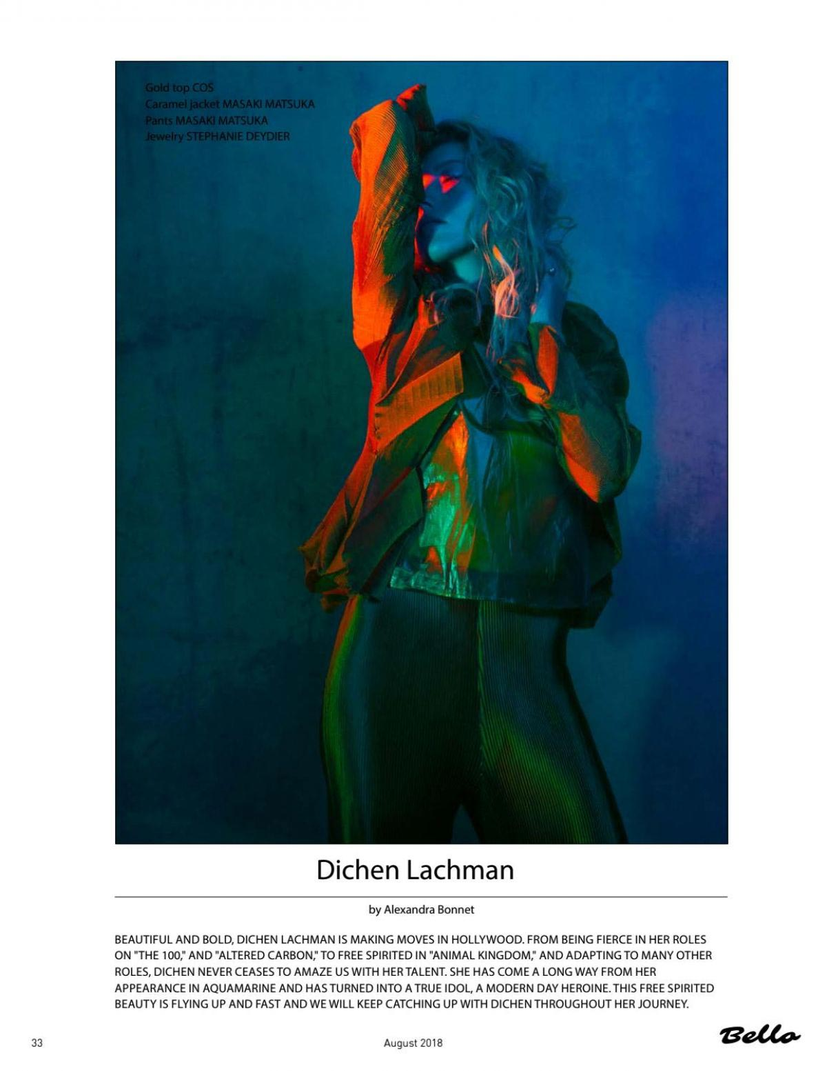 Dichen Lachman in Bello Magazine, August 2018 1