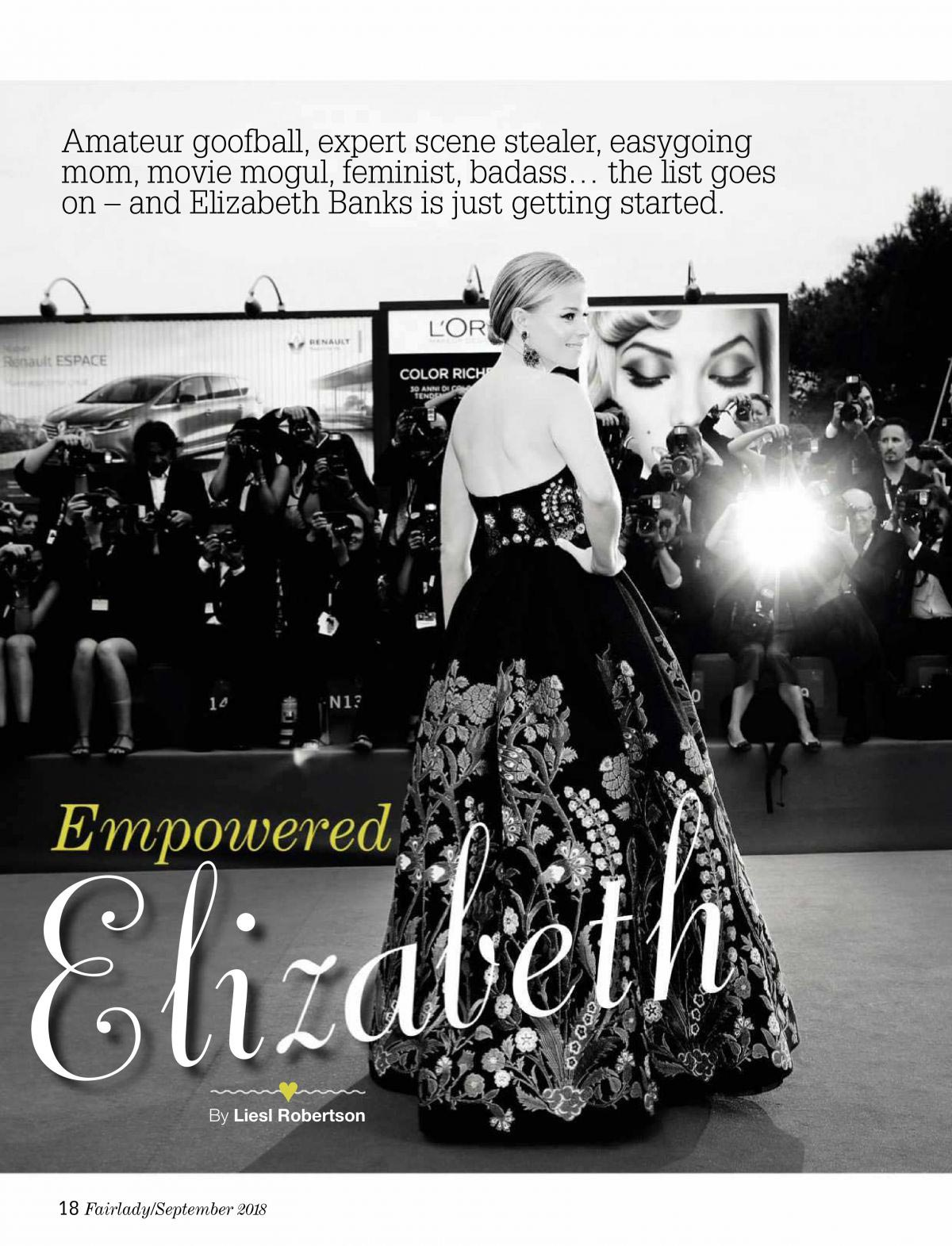 Elizabeth Banks in Fairlady Magazine, September 2018 1