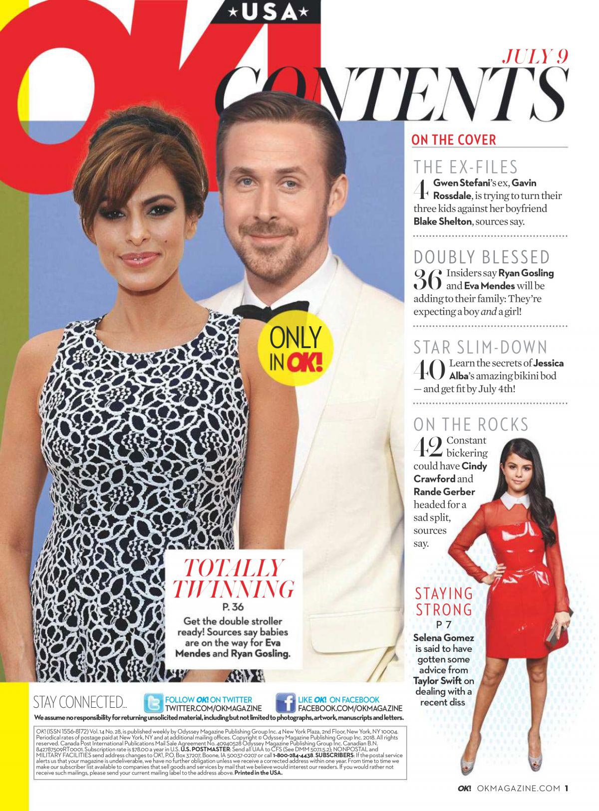Eva Mendes and Ryan Gosling in Ok! Magazine, July 2018 Issue 1