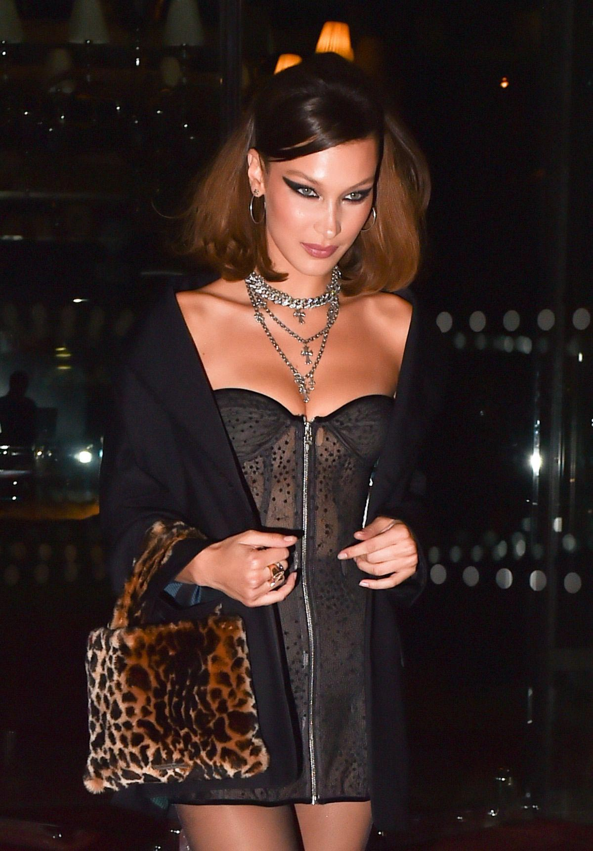 f7524aa4a47 Bella Hadid Arrives at Chrome Hearts Event in Paris 2018 09 25 ...
