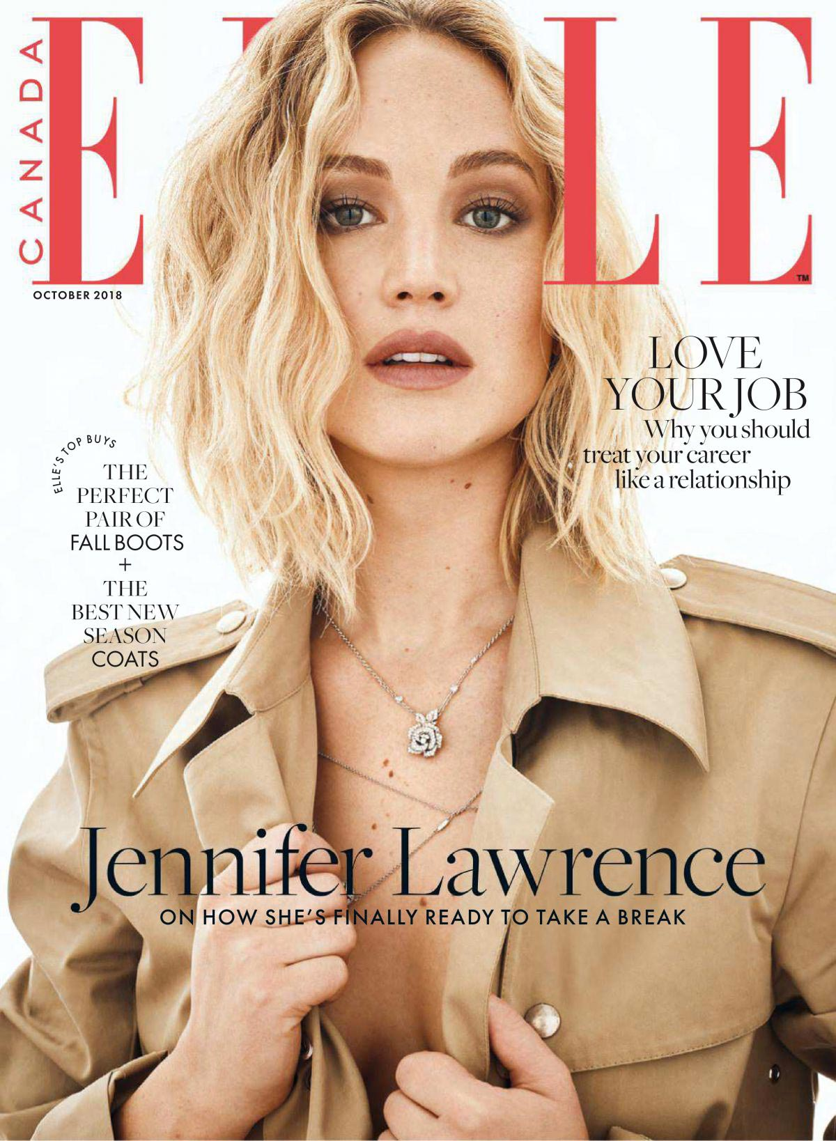 Jennifer Lawrence in Elle Magazine, Canada October 2018 1