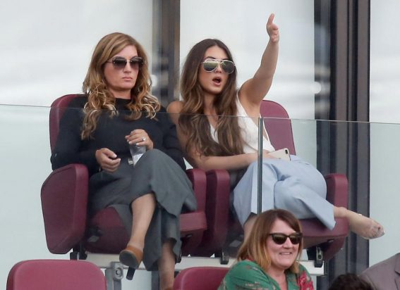 Karren Brady and Sophia Peschisolido at West Ham United vs Wolves Match in London 2018/09/01 1