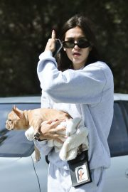 Amelia Gray Hamlin with Her Dog in Beverly Hills 2018/10/06 2