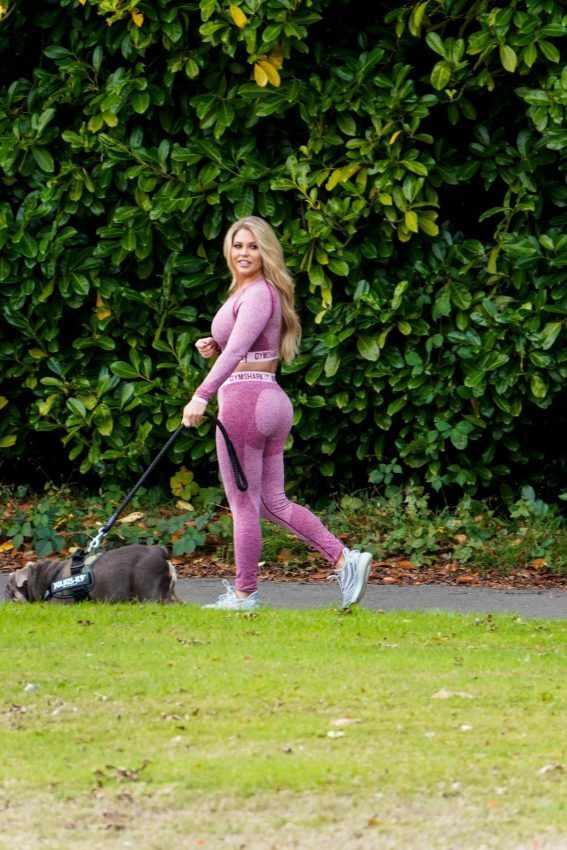 Bianca Gascoigne in Tights Out with Her Dog in Kent 2018/10/09 1