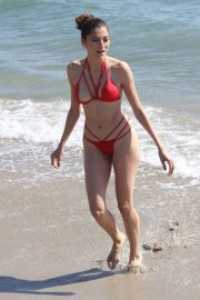 Blanca Blanco in a Red Bikini to the Beach in Malibu 2018/10/17 8