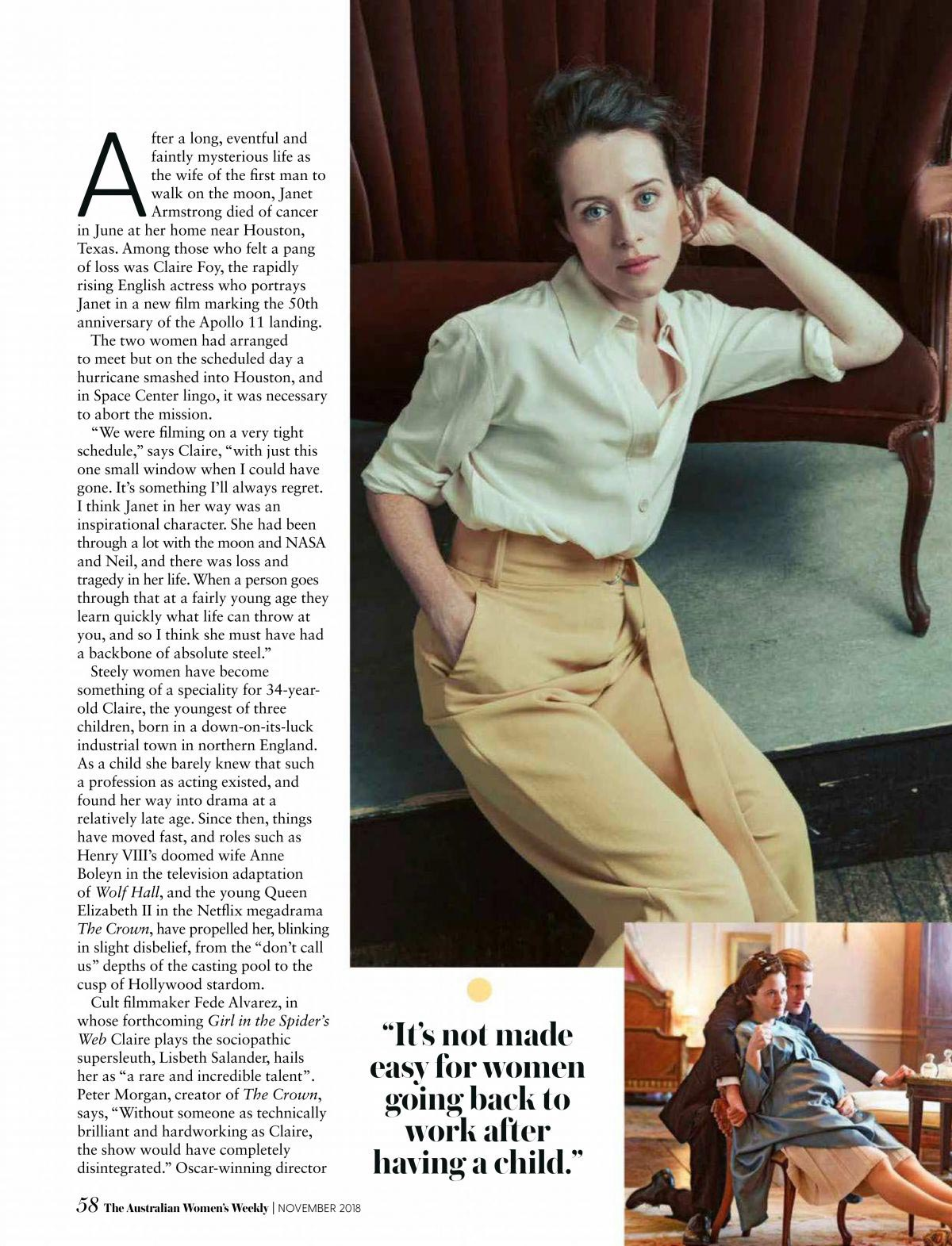 Claire Foy in Women's Weekly Magazine, Australia November 2018 1