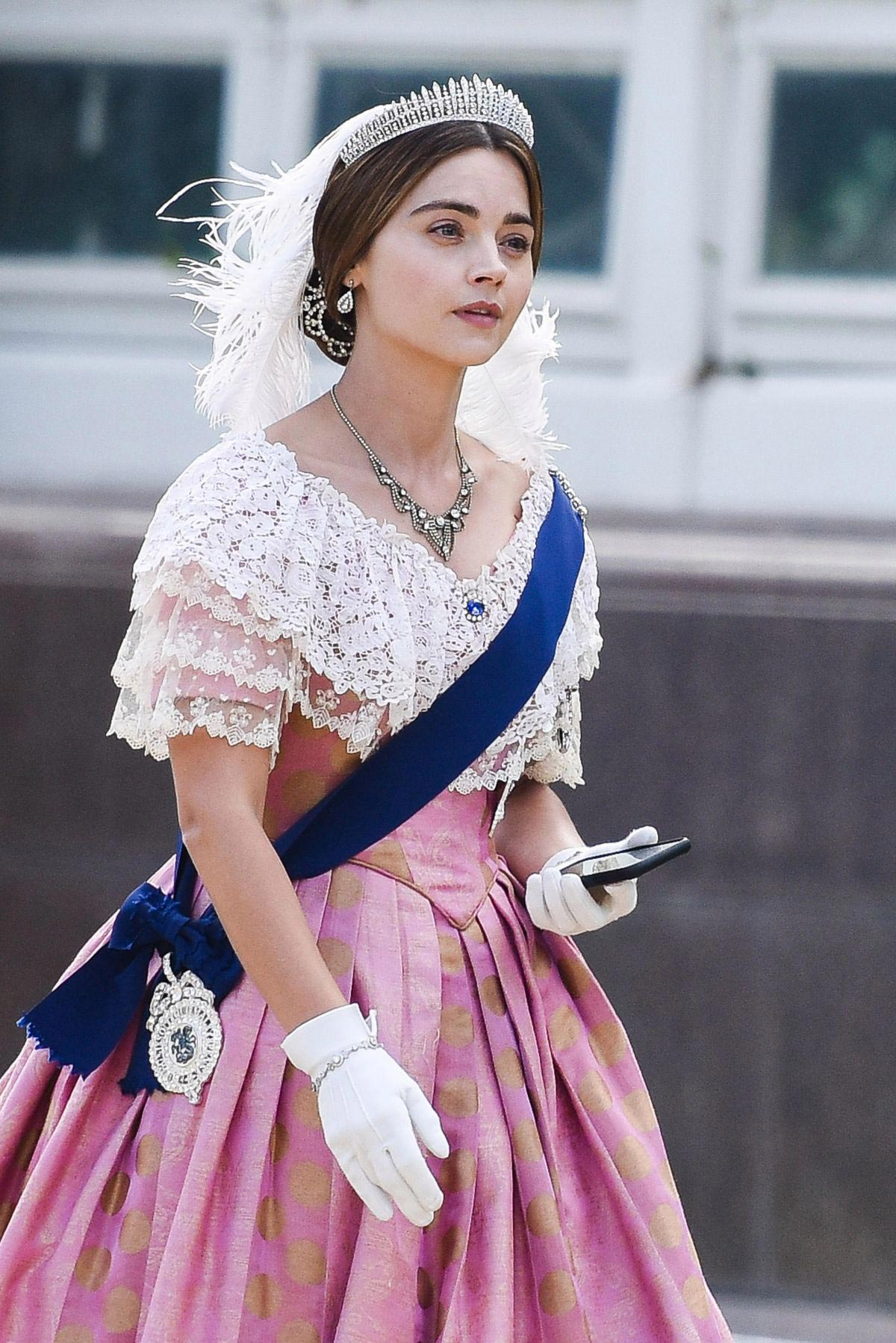 Jenna Coleman on the Set of Queen Victoria in Liverpool 2018/09/28 1