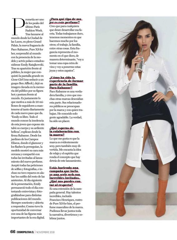 Emily Ratajkowski in Cosmopolitan Magazine, Chile November 2018 1