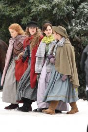 Emma Watson, Florence Pugh, Eliza Scanlen and Saoirse Ronan on the Set of Little Women in Harvard 2018/11/05 1