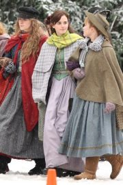 Emma Watson, Florence Pugh, Eliza Scanlen and Saoirse Ronan on the Set of Little Women in Harvard 2018/11/05 2