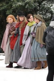 Emma Watson, Florence Pugh, Eliza Scanlen and Saoirse Ronan on the Set of Little Women in Harvard 2018/11/05 7