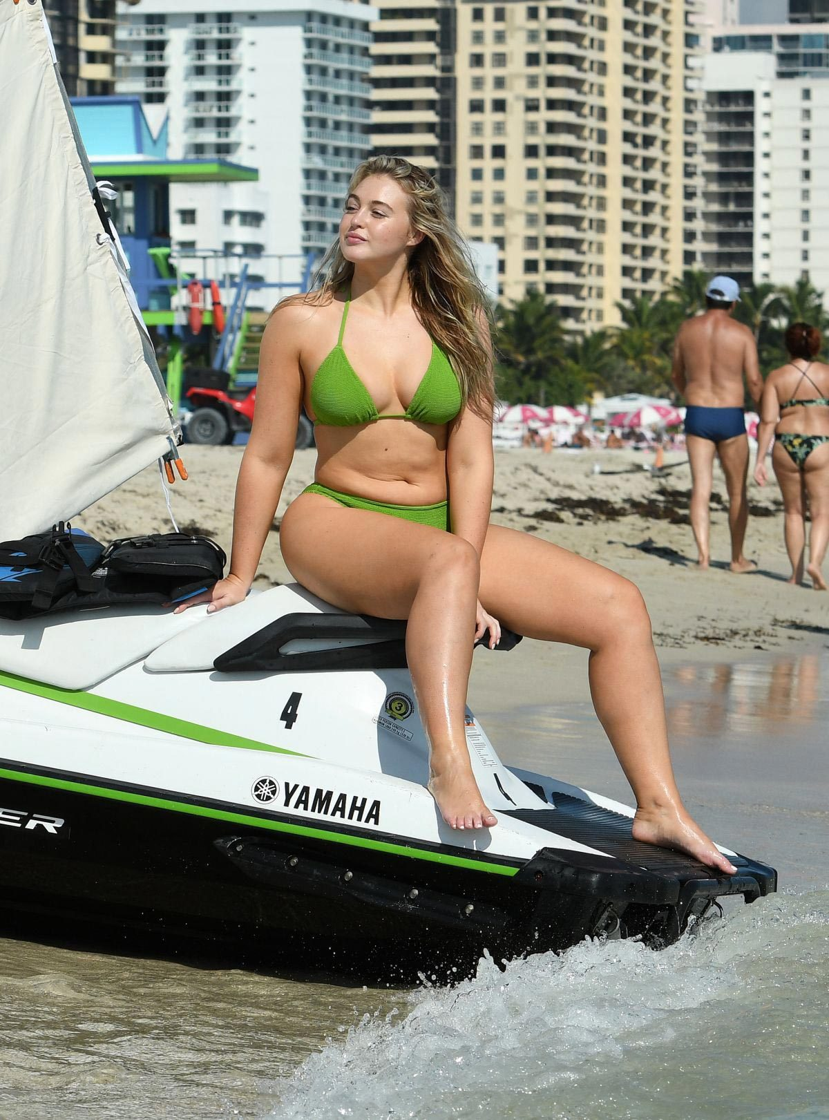643d16c6cc0 Iskra Lawrence wears Parrot Green Bikini for Aerie Photoshoot at a Beach in  Miami 2018/11/26