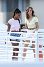 Jasmine Tookes and Josephine Skriver on the Set of a VS Photoshoot in Miami 2018/11/26 10